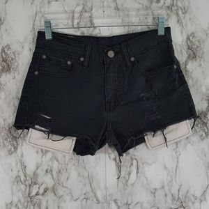 Levi's 511 Black Stretch Denim Cutoffs 28 SS43